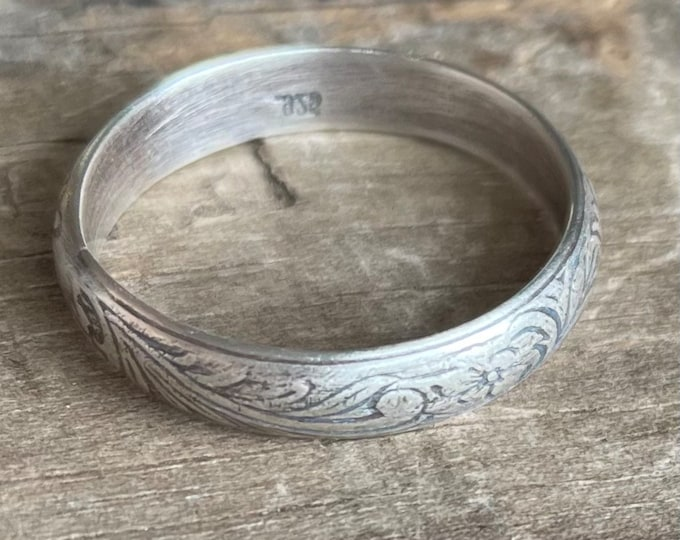 Rustic Floral Band Sterling silver flower ring band    Rustic Sterling Silver Ring