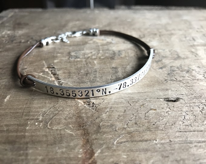 Personalized MOM BRACELET Leather Sterling Silver Bracelet Custom Bracelet GPS Coordinates