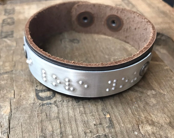 Personalized Braille Bracelet Personalized Unisex Leather Bracelet Custom Braille Message