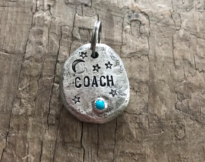 Bridle tag Horse name charm bridle charm solid recycled sterling silver and American Turquoise
