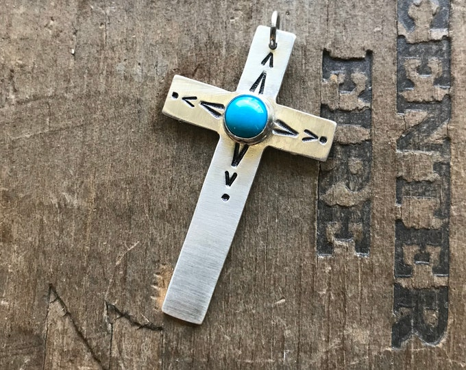 Cross pendant unisex sterling silver cross with American mined Turquoise setting