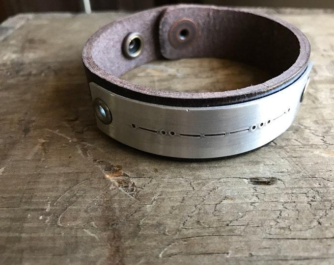 Morse Code Bracelet Personalized Leather Custom Bracelet Men's Women's Morse Code Roman Numerals Braille or Longitude Latitude