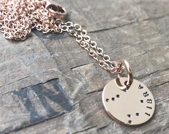 Rose Gold constellation Necklace Custom constellation zodiac charm