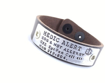 Medical Leather Bracelet Custom Bracelet Men's Leather Bracelet Diabetes Customized Thick Leather Band