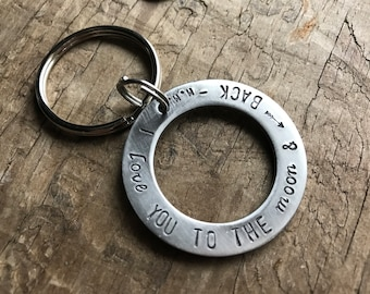Mens Personalized Key Fob Solid Stainless Steel Anniversary Mens gift Custom Order Keychain