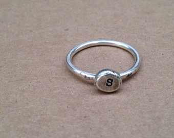 Initial Ring Sterling Silver Stack Ring Personalized Ring Silver Initial Ring Personalized Rustic initial ring sterling silver monogram ring