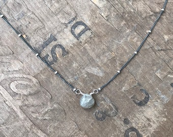 Labradorite Necklace Dainty sterling silver and faceted labradorite gemstone necklace