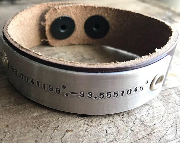 Custom Leather Bracelet Cuff Custom Gift Personalized Mens Leather Bracelet Longitude Latitude Hipster Dad Gift GPS Coordinates Bracelet