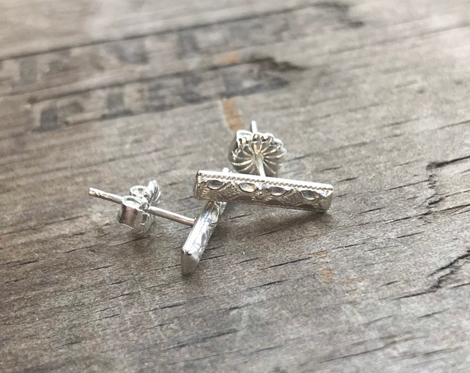 Silver Earrings Bar Stud Earrings Sterling Silver Stud Earring Handmade Sterling silver studs