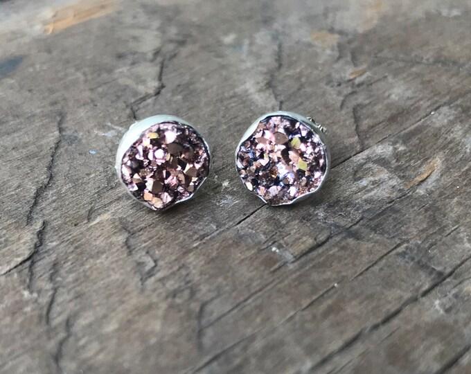Rose Gold Druzy Earrings Silver Stud Earrings Sterling Silver Faux Druzy Stud Earrings Sparkly Druzy Sterling Silver studs