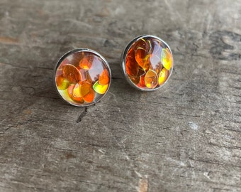 Autumn Leaves Sparkly Orange Studs set in solid sterling silver Earrings