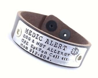 Leather Medical Bracelet Custom Medical Alert Jewelry Custom Made Allergy alert Medication