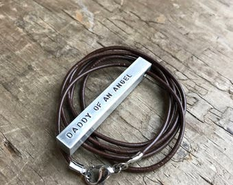 Memorial necklace -A Personalized Necklace Stainless Steel Bar Necklace 4 sided bar brass copper or stainless steel