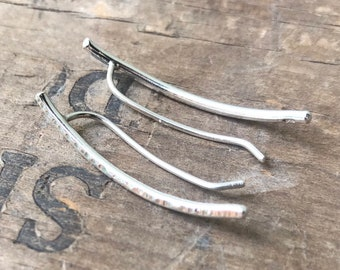 Silver ear climbers solid sterling silver 1.25 inches handmade earrings ear climbers