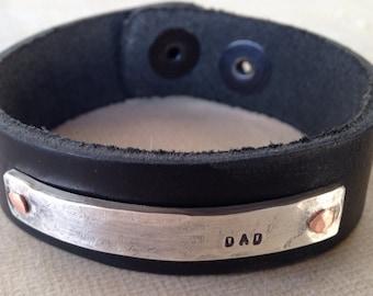 Dad bracelet leather and sterling silver Rustic Dad Leather Bracelet
