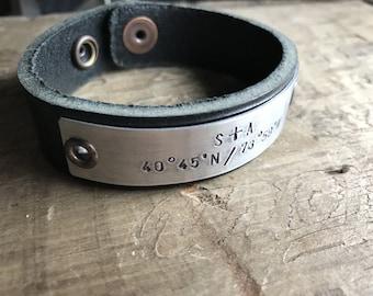 Men's Personalized Leather Bracelet Cuff Longitude Latitude Custom GPS Coordinates Bracelet
