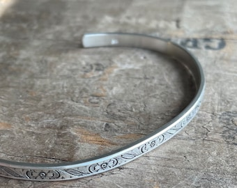 Floral silver cuff stacking bracelet wide sterling silver cuff solid sterling silver with a floral design