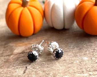 Mini Onyx Stud Earrings Sterling Silver Gemstone Stud Earrings || Sterling Studs || Earrings Sterling Silver Small Earrings