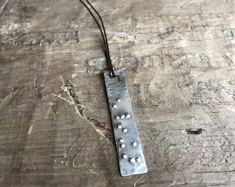 Silver Braille Necklace Personalized Pendant Sterling Silver Custom Braille Message secret message pendant