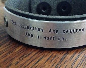 The Mountains Are Calling Personalized Leather Bracelet Custom Bracelet Men's Women's Leather Bracelet Customized