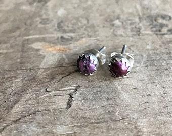 Purple Stud Earrings Sterling Silver Purple Oyster Gemstone Stud Earrings || Sterling purple spiny oyster Studs ||