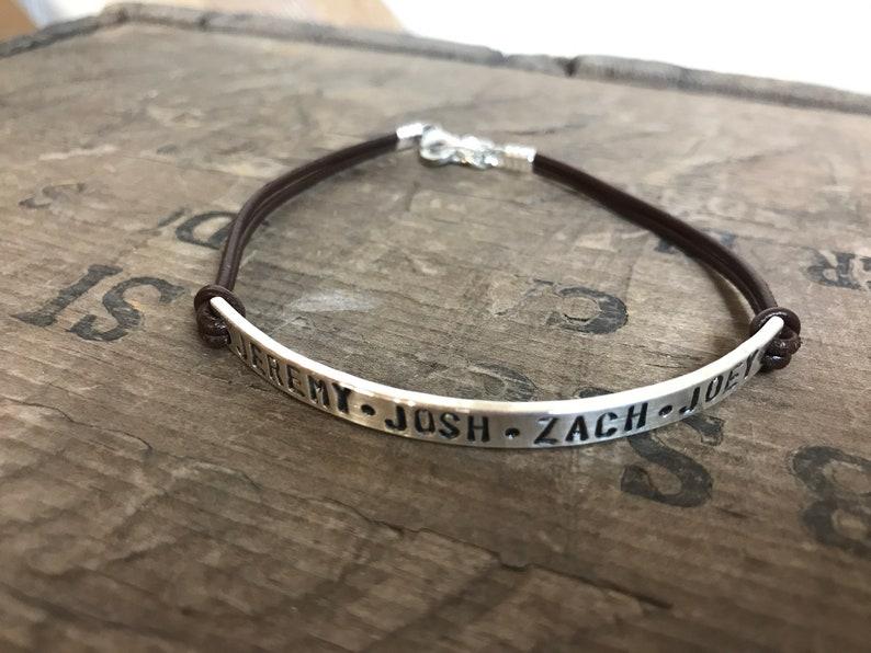 Personalized Women/'s Leather Sterling Silver Bracelet Custom Bracelet GPS Coordinates