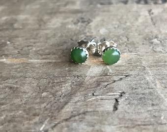 Green Gemstone Stud Earrings || Sterling Studs || Nephrite green Earrings Sterling Silver
