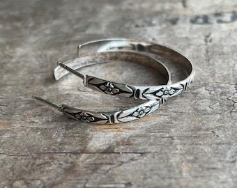 Floral Hoops Sterling Silver Hoops Forget-me-not sterling earrings