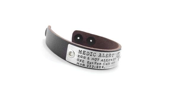 Medical Alert ID Femmes Hommes Tressé en Cuir PU Bracelet Tag statament gravé
