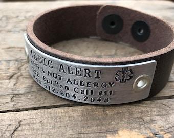 Custom Leather Medical Alert Leather Bracelet Medical Custom Made Diabetes Bracelet Allergy Etc