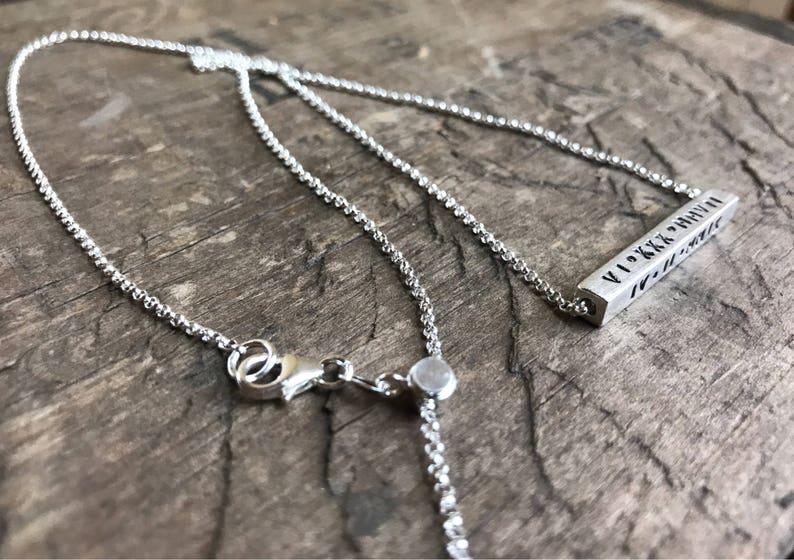 Personalized Spinning Bar Sterling Silver Four Sided Bar Necklace