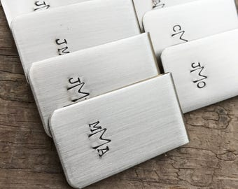 9 Money Clips Custom Initials Men's Moneyclips SET of nine Wedding Groomsmen Gifts for Groom