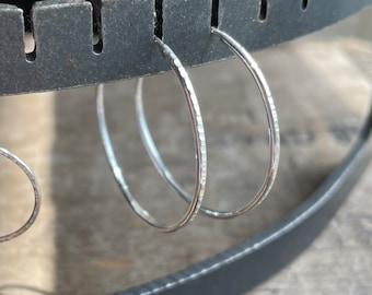 Hoop Earrings sterling silver Earring Handmade Sterling SIlver Forged Textured Earrings Sterling Earrings Sterling SIlver
