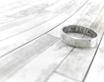 Custom Wedding Band Mens Ring Personalized Secret Message Silver Rustic Band Solid Sterling Silver Rustic Ring Wild Heart