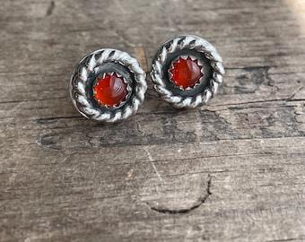 Sterling Silver Carnelian Stud Earrings Sterling Silver Red Orange Gemstone Stud Earrings || Sterling red orange Carnelian Studs ||