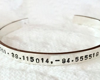 Personalized GPS Bracelet Coordinates Sterling Cuff Customized with up to 3 locations