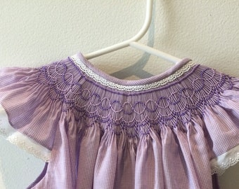 Hand smocked purple gingham dress with lace - Size 3