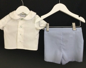 Baby boy's dress outfit with white shirt and blue shorts - 3 month size