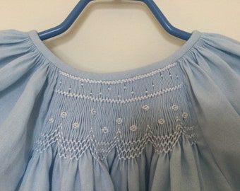 Sweet blue hand smocked baby dress with crystal beads