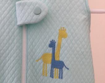 Embroidered unisex aqua sleep sack in size 0-3 months