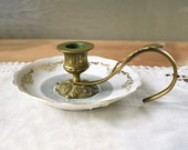 Brass and Porcelain Candle Holder, Vintage Brass Chamberstick on Porcelain Tray