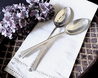 Silver Serving Spoon Set of Two - 1949 Holmes and Edwards SPRING GARDEN Pattern - Pierced and Solid Serving Spoons