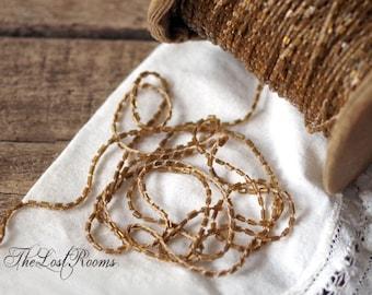 1 yd Victorian Amber Glass Bead Trim - Antique Trim Glass Beads