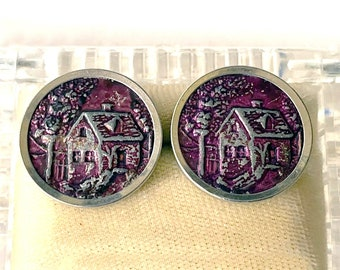 Antique Victorian BUTTON Lot of 2 Metal Picture Buttons - Dyed Metal Button Cottage with Trees - Antique Picture Button Pair (421 HM)