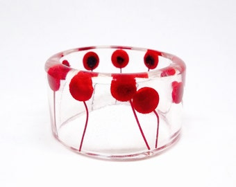 Size Medium Red Button Flowers Botanical Resin Bangle.  Pressed Flowers. Personalized Engraved Jewelry.  Personalized Bracelet. Gift for Her