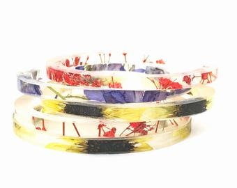 Mix & Match Stacking Resin Cuffs.  Stacking Bracelets with Resin and Real Flowers.
