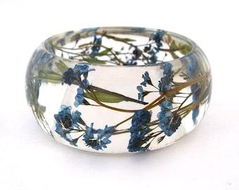 Size Medium Forget Me Nots Resin Bracelet -  Handmade Resin Jewelry -  Pressed Flower Bracelet for the Gardener or Nature Lover. Engraved