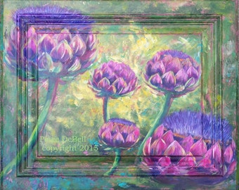 ARTICHOKES In BLOOM Painted On A Cabinet Door Great Colors