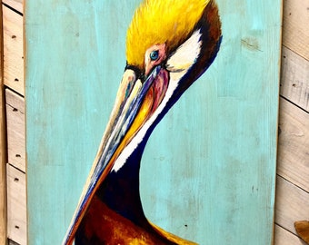 SUNSET PELICAN PAINTING Original Painting by Paige DeBell **on Architectural Salvage from New Orleans