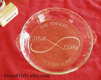 Infinity Wedding Custom Names, Date. Endless Love Wedding or Anniversary Pie Basic or Deep Dish Pie Plate